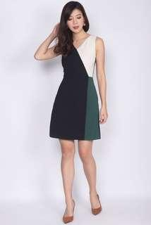 🚚 Acedia Colour Block Work Dress In Black/Forest