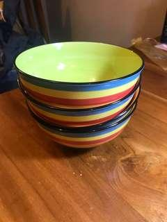 Rainbow soup or cereal ceramic bowl