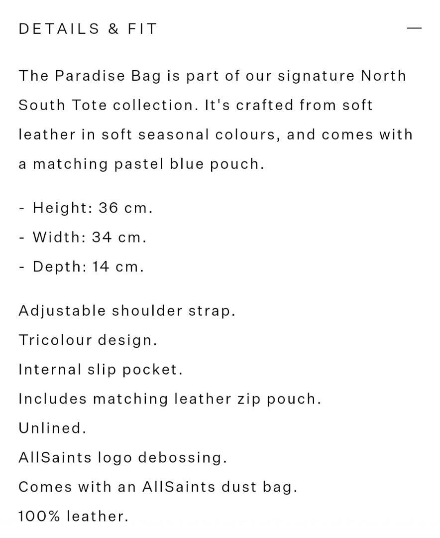 Allsaints paradise north south tote bag