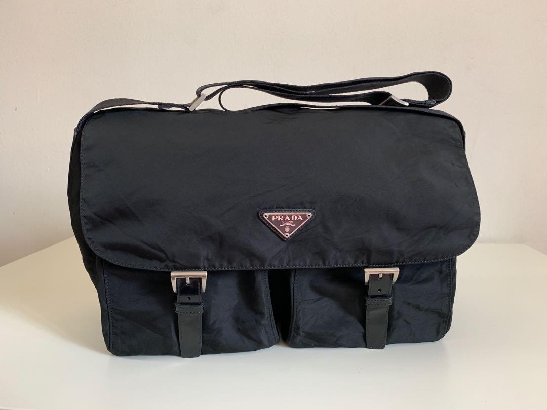525a6a5ab620 Authentic Prada Black Nylon Messenger Bag, Men's Fashion, Bags ...