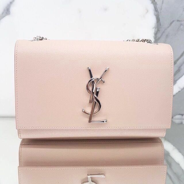 d5154f25979 BNIP YSL Saint Laurent Pink x Silver Calf Leather Small Kate Bag ...