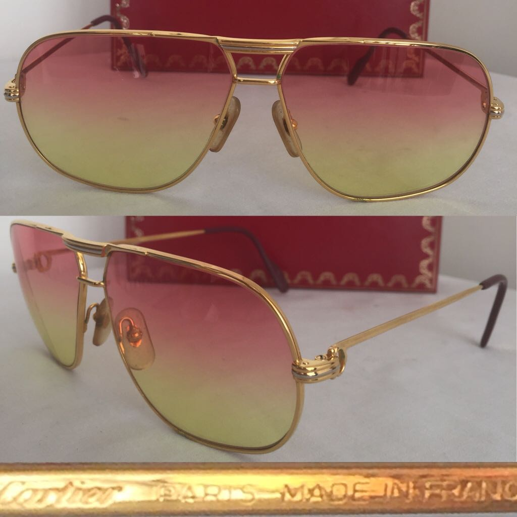 1f6c179b1ba Cartier Louis Tank Vintage Sunglasses 14k Gold-Plated 62  12 Made in ...