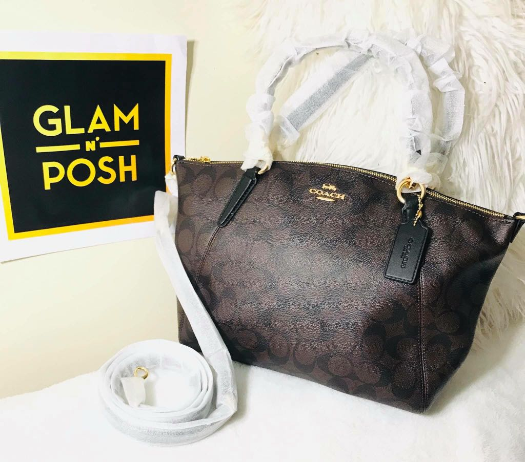 Coach F28989 Small Kelsey Satchel in Signature Canvas Brown Black ... d464eb253a14f