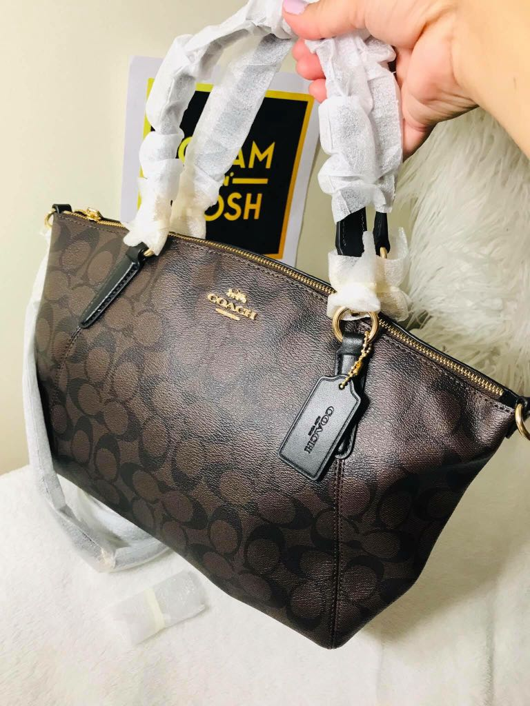 90dc4a31c49a Coach F28989 Small Kelsey Satchel in Signature Canvas Brown Black ...
