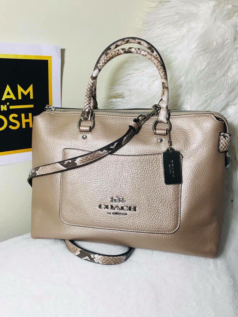 12fcc06a0099 COACH Snake Metallic Pebble Leather Emma Satchel Crossbody Bag Purse ...