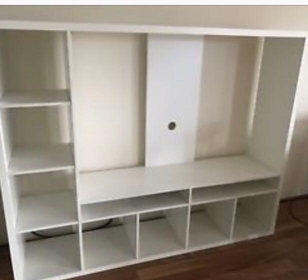 Lland Ikea Tv Storage Unit White Furniture Shelves