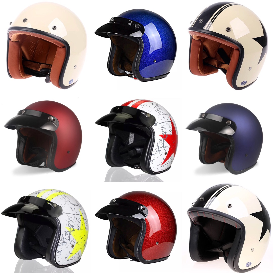 Blue Glitter Motorcycle Helmet Open Face Three Button Snap Retro Vintage  Vespa Scooter Cafe Racer Motorbike Leather Gloss Old School
