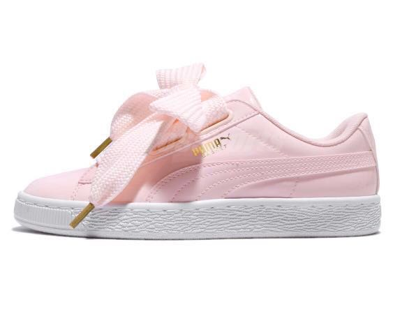 Puma Basket Heart Patent in baby pink, Women's Fashion ...