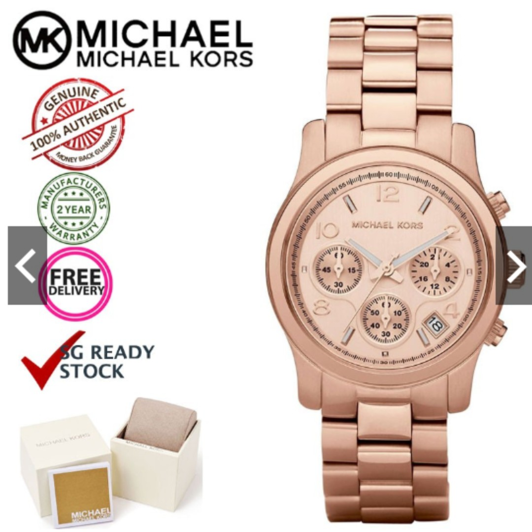 088fd70fc23 READY STOCK) Michael Kors MK5128 Runway Chronograph Gold Dial Rose ...