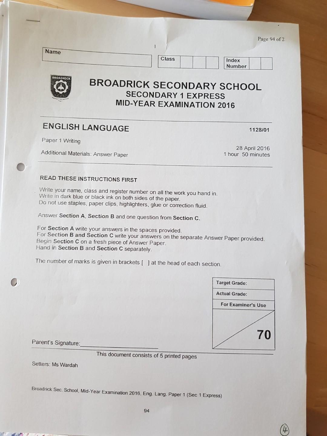 free secondary 1 science exam papers singapore