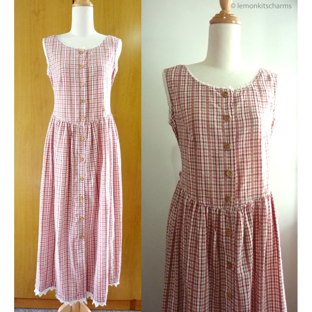 cbcdd8707ed Vintage 1980s Red Plaid Country Long Dress