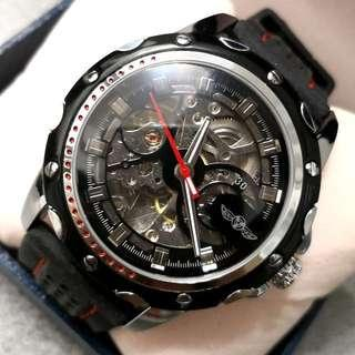 全自動機械黑鋼陀飛輪手錶 Original Brand New Automatic Mechanical Black Stainless Steel Tourbillon Watch 聖誕節禮物 Christmas Gift