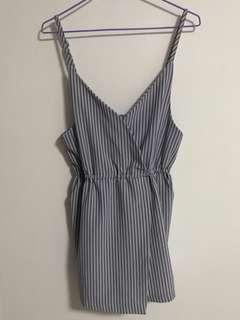 Blue Striped Wrap Romper