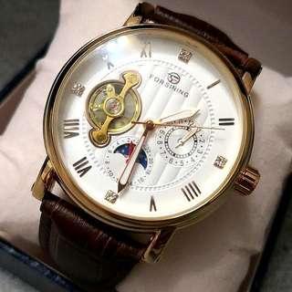 全自動機械金鋼日月星真皮手錶 Original Brand New Automatic Mechanical Gold Steel Sun and Moon Stars Genuine Leather Watch 聖誕節禮物 Christmas Gift