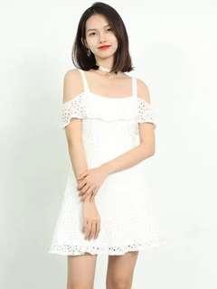 Premium quality eyelet off shoulder dress