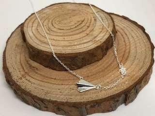 Origami Plane Necklace in Silver 925