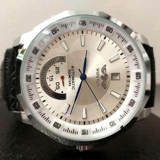 全自動銀鋼機械陀飛輪真皮手錶 Original Brand New Automatic Silver Steel Mechanical Tourbillon Genuine Leather Watch 聖誕節禮物 Christmas Gift