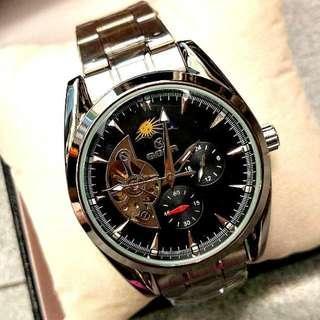 全自動銀鋼日月星機械鋼帶手錶 Original Brand New Automatic Silver Steel Sun and Moon Star steel Mechanical Watches 聖誕節禮物 Christmas Gift