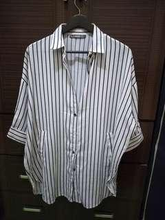 🚚 輕熟女專櫃品牌-plombiere女匠  條紋常版襯衫