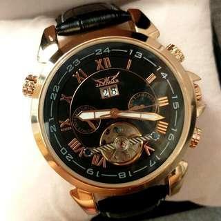全自動玫瑰金鋼名貴機械陀飛輪真皮手錶 Original Brand New Automatic Rose Gold Steel Luxury Tourbillon Genuine Leather Watch 聖誕節禮物 Christmas Gift