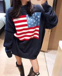 🚚 國旗慵懶針織洋裝