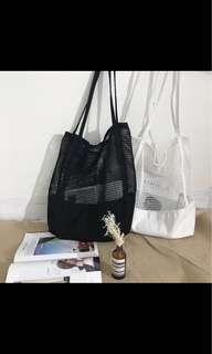 Black Mesh Tote Bag