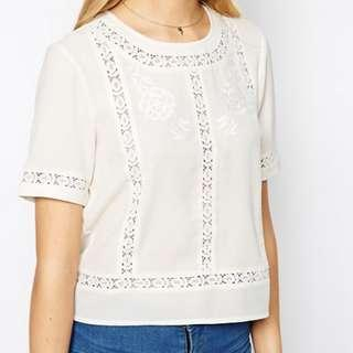 ASOS Lace Insert and Embroidered Cream Shirt in Vintage Style (UK10)