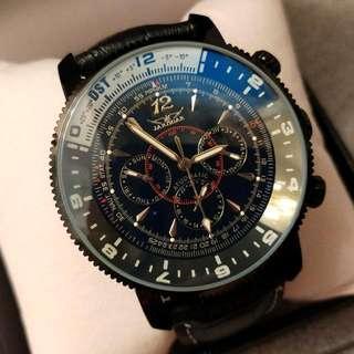 全自動黑鋼藍光陀飛輪機械真皮手錶 Original Brand New Automatic Black Steel Blue Light Tourbillon Mechanical Genuine Leather Watch 聖誕節禮物 Christmas Gift