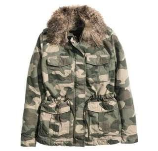 H&M Camo Faux Fur Padded Jacket #XMAS25