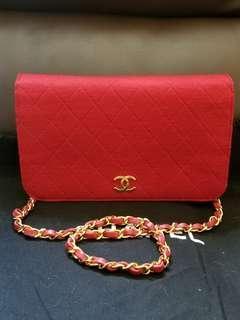 最低價 Chanel vintage 紅色 cotton 金扣中古綿質手袋 可買可換