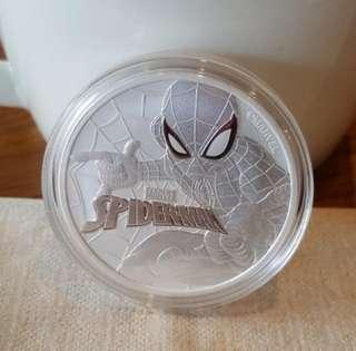 2017 Marvel Spiderman 1 oz silver coin.