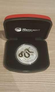 2013 Perth Mint Lunar Snake Gilded 1 oz silver coin