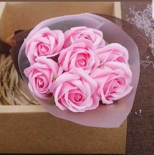 7pcs Pink Soap Rose bouquet For Valentine's Graduation Birthday