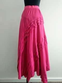 Vintage pink maxi skirt with frills details AU 8 10