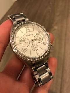 Silver fossil watch