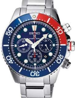 Band New Seiko Solar Quartz Chronograph with Stop-Watch and 24-hour Sub-Dial  #SSC019