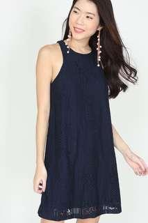 MDS Lace Shift Dress in Midnight