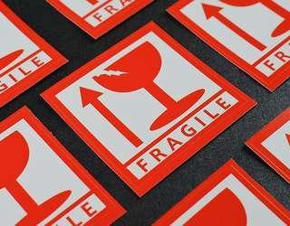 Fragile sticker label