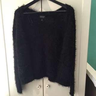 Topshop Black Furry Cardigan