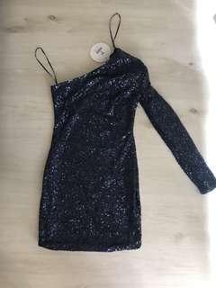 Sparkly navy one sleeve mini dress