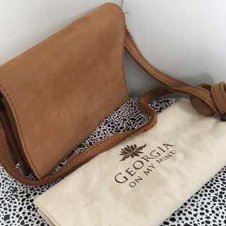 georgia on my mind tan genuine leather suede satchel
