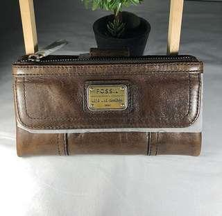 fossil original wallet dompet in brown