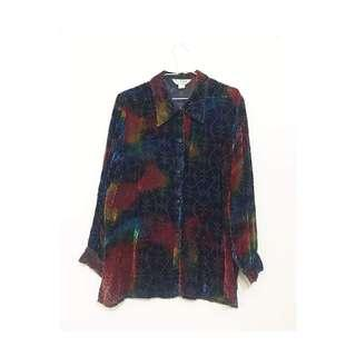 🚚 古著 vintage 絨布透膚襯衫