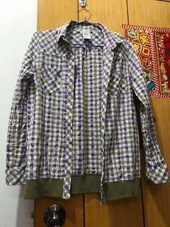 格仔外套 淺紫色