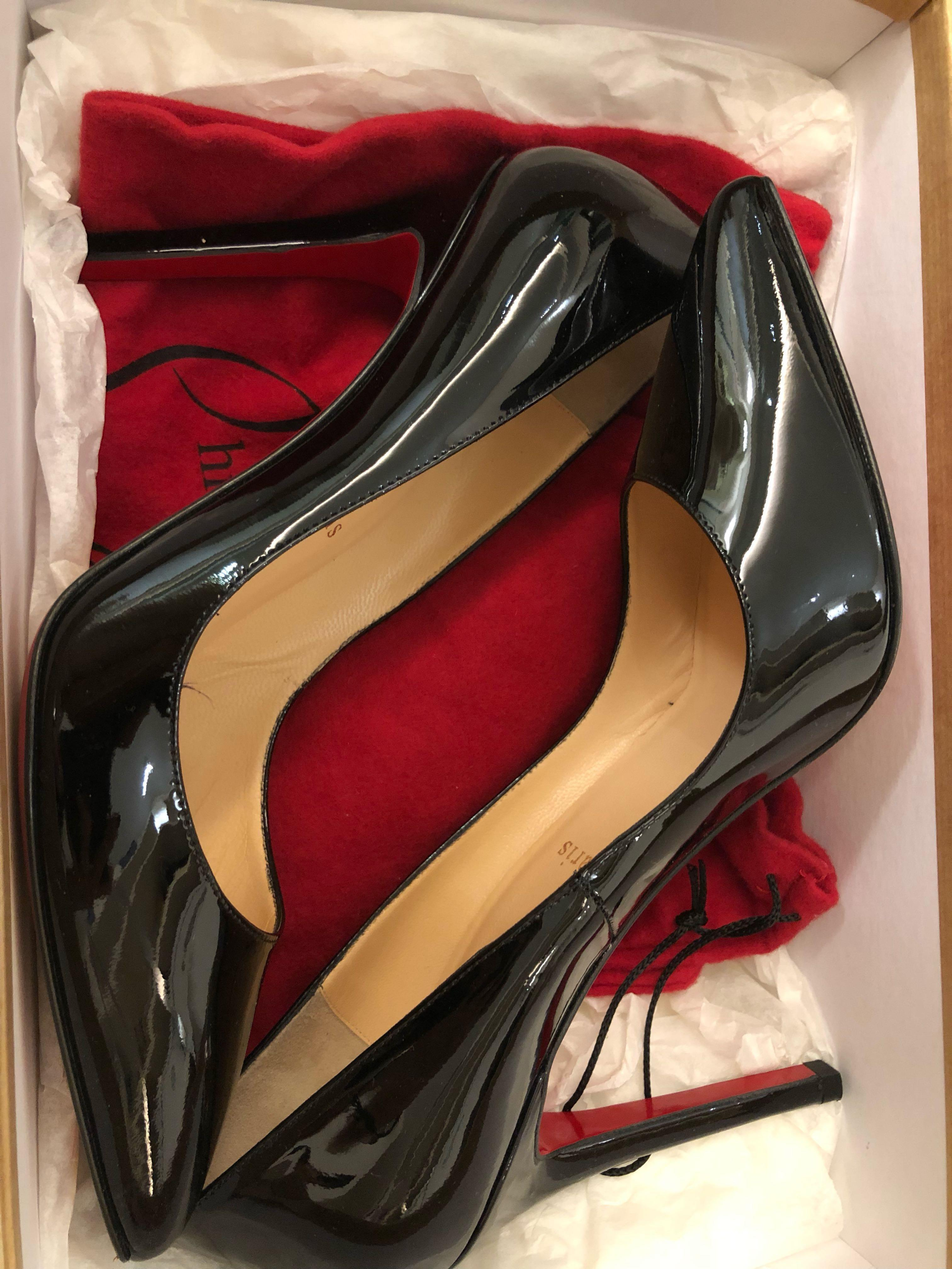 c08dc5ce5630 100% New   Authentic Christian Louboutin Pigalle 100 Black Patent Leather  Pointed Toe Heels on Carousell