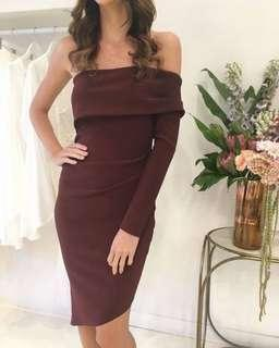 BEC AND BRIDGE Love Ruler Dress in Burgundy