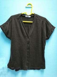 Ti:zed Factory short sleeve cardigan in dark brown