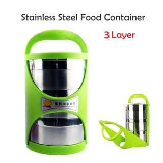 3 LAYER STAINLESS STEEL FOOD CONTAINER ( 99-01-36 )