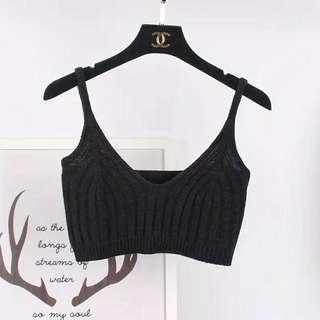 Knitted Black Crop Top / Bralette #XMAS50