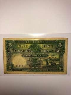 1925 Straits Settlements $5 Original VF ( Rare)